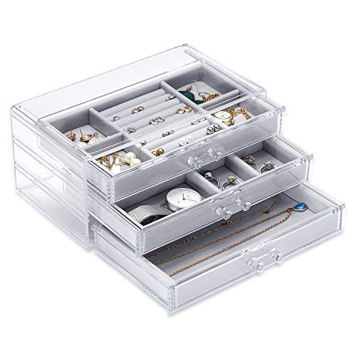 Basuwell Schmuckkästchen für Damen mit 3 Schubladen, Samt Schmuck-Organizer für Ohrringe, Armreif, Halskette, Ringe, Aufbewahrungsbox, Acryl, transparent grau -