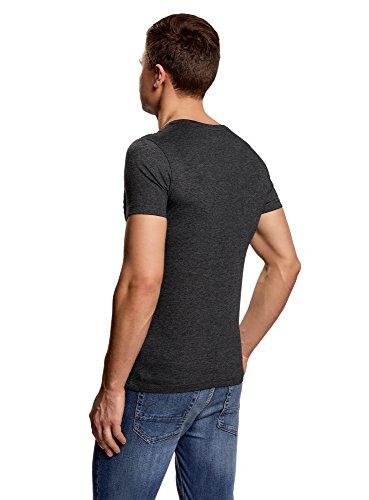 oodji Ultra Herren Gerades T-Shirt mit Druck Grau (2510P)