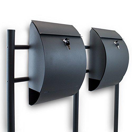 BITUXX® Doppel Standbriefkasten Briefkasten Postkasten Mailbox Letterbox Briefkastenanlage mit integrierten Zeitungsfach Dunkelgrau Anthrazit