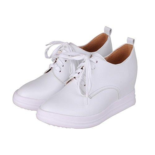AgooLar Femme à Talon Correct Couleur Unie Lacet Matière Souple Rond Chaussures Légeres Blanc