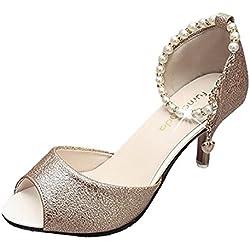 Minetom Damen Mode Peep Toes Pumps Knöchel Gurt Plateau Stilettos Spitz Zehe Schuhe Beaded High Heel Sandalen Gold EU 37