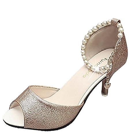 Tomsent Damen Mode Peep Toes Pumps Knöchel Gurt Plateau Stilettos