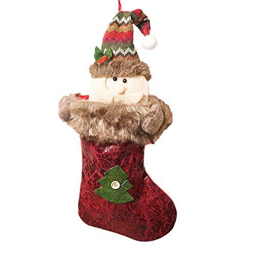 Christmas Sock Old Man Snowman Elk Weihnachtsstrumpf Socke Weihnachtsmann Candy Geschenk Tasche Weihnachtsbaum Weihnachten Weihnachtsfeier Party HäNgen Dekoration Zum BefüLlen(A,Freie Größe)