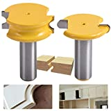 HOEN 2 Stück/Set Oberfräse-Bit 1/4 Schaft 1–1/2 Durchmesser Kanu-, Flöten- und Perlenfräser-Set für Holzbearbeitungswerkzeug