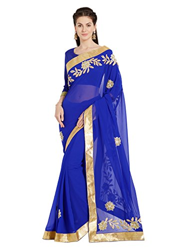 Mirchi Fashion Royal Blue Faux Georgette Gotta Lavoro Floral Ricamo Saree (5018_Royal Blue)