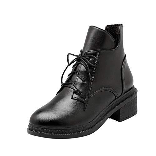 Übergröße Kostüm Baseball - Mymyguoe Lässige Stiefel Damen Ankle Boots mit Halbhohe Blockabsatz Schuhe mit quadratischem Absatz Wild Cross-Tied High Heel Stiefeletten Pumps Kurzschaft Modische Übergrößen Schlüpfen Boots