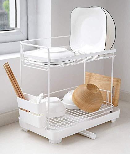 DJSMsnj Küchenraum, Geschirr Drainers Rack Küchenmesser Ablaufbehälter mit Auffangwanne for Geschirrspüler Regal, Geschirr Storage Rack Multifunktions Besteckständer (Size : Double)