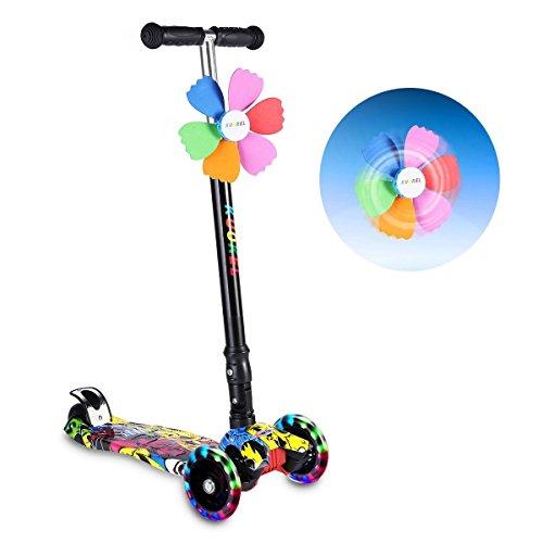 KUOKEL Patinete de 3 Ruedas con Diseño Scooter plegable de la PU para los niños ajustables de la manija de la altura de la rueda con mini Winnower (negro)