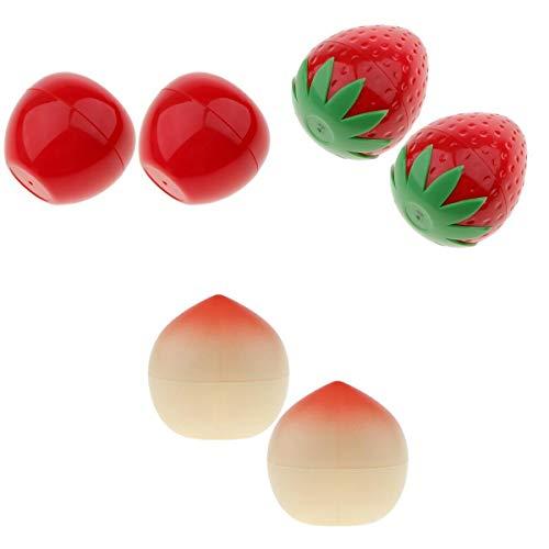 Homyl 6x Pot Vide Rond en Plastique Forme Fruits avec Couvercle Cosmetic Container Rangement pour Crèmes Stockage Onguents Toners