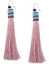 YAZILIND 18 k oro semillas de perlas colgantes de borlas gancho Bohemia Drop Dangle aretes para las mujeres