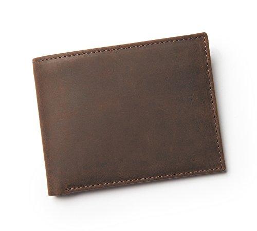 Navali Wallet Brieftasche Portemonnaie Geldbörse für Herren aus echtem Wild-West-Leder - Braun