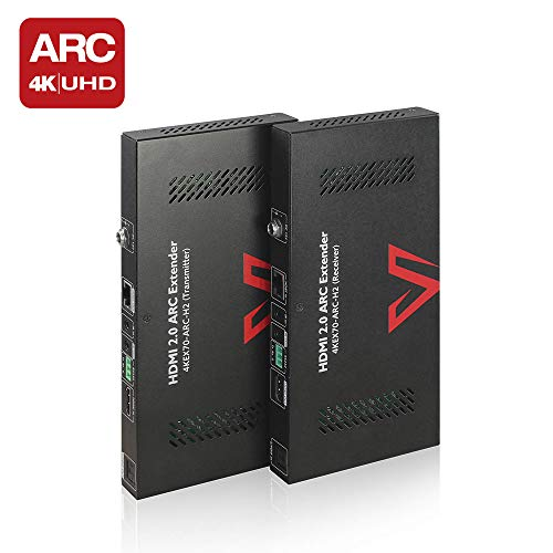 ARC 18Gbps HDMI 2.0 Extender HDBaseT Two Way PoC&IR, Uncompressed 4Kx2K@60Hz 4:4:4 Over Single CAT5e/6/7, HDCP2.2, S/PDIF Audio, CEC, Auto EDID, RS232, HDR10, 4K 40M,1080P 70M, Dolby Atmos & DTS:X -