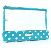 Audacity Turquoise Blue and White Polka Dot and Clear Cosmetic Make-up Toiletry Bag for women and girls