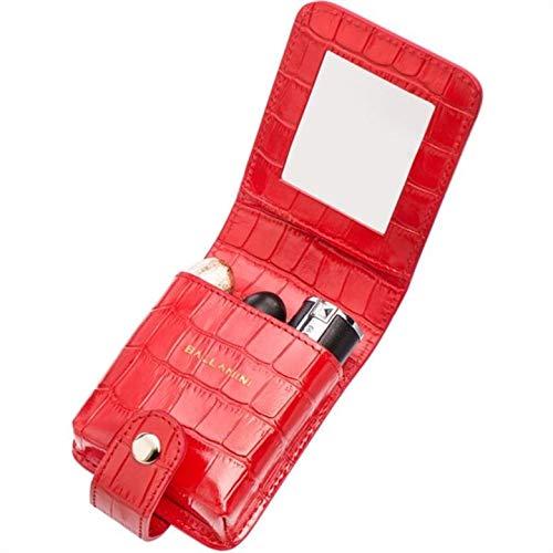 QYJpB Lippenstift-Tasche Mit Spiegel-Make-up-Tasche Reise-Make-up-Tasche Mit Spiegel-Geschenk-Leder-Lippenstift-Fall-Halter-Organisator-Tasche (Farbe : Rot) (Mit Lippenstift-halter Spiegel)