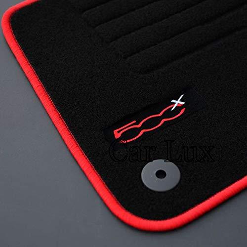 Car Lux ar04027 Tapis de Voiture sur Mesure en Velours pour 500 X 500 X Depuis 2014- Edition Velours Passepoil Rouge
