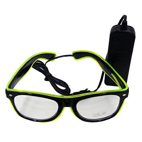 Livecity LED EL Draht Gläser, helle bis Glow Sonnenbrille Eyewear für Nachtclub Party, Weihnachten, plastik, leuchtend grün, Einheitsgröße