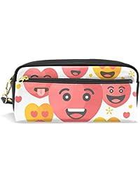 Eslifey Valentine Emoji - Estuche portátil de piel sintética para lápices de colores para niños,