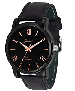 Jainx Round Slim Black Dial Analogue Watch For Men & Boys - Jm207