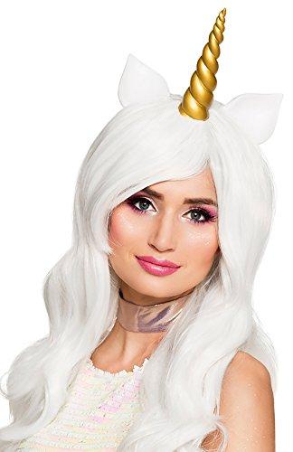 Halloweenia - Deluxe Langhaar Perücke Einhorn Unicorn Kostüm Einhornkostüm Horn und Ohren Einhornperücke Perrücke, Gold Weiß (Sexy Nerd Girl Kostüme)