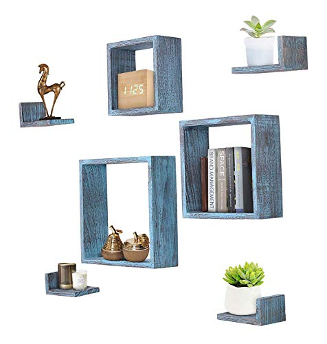 Comfify Rustikale Schweberegale zur Wandmontage - Rechtecke - 7er Set - 3 rechteckige Regale und 4 L-förmige rustikale Regale - Schrauben und Dübel inklusive - Rustikales Wanddekor - Rustikales Blau -