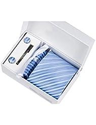 Coffret Cadeau Alicante - Cravate à rayures blanches, bleu ciel et fil bleu marine, boutons de manchette, pince à cravate, pochette de costume
