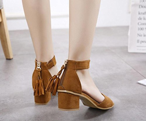 OL Mature Sandals Tassels Scrub Belt Décoration Chunky High Heel Open Toe Zippers Casual Femmes Chaussures UE Taille 35-39 light brown
