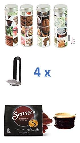 Senseo Typ Espresso Intenso + 4 passende Paddosen mit Kaffeemotiven + 4 Padlifter + 2 Espressotassen mit Henkel 100ml