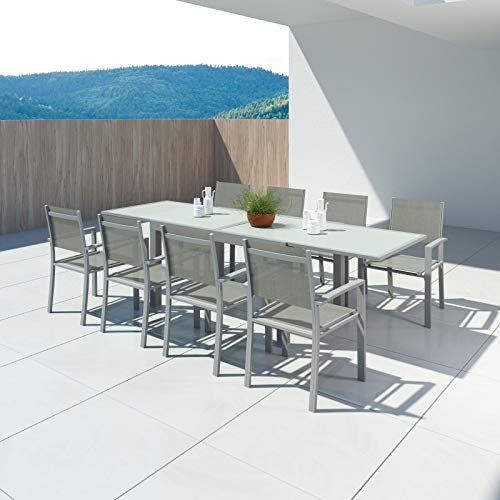 IMS GARDEN Hara XL-Table de Jardin Extensible Aluminium 140/280cm + 8 fauteuils textilène Argentée, KN-T140280A-4x2CH1G