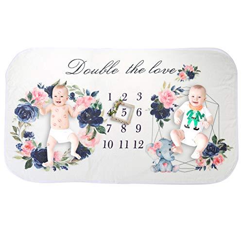 Manta de hito mensual para bebés y bebés manta de telón de fondo de fotografía con estampado floral suave para gemelos niña niño 150cm x 90cm (59inx35.4in)