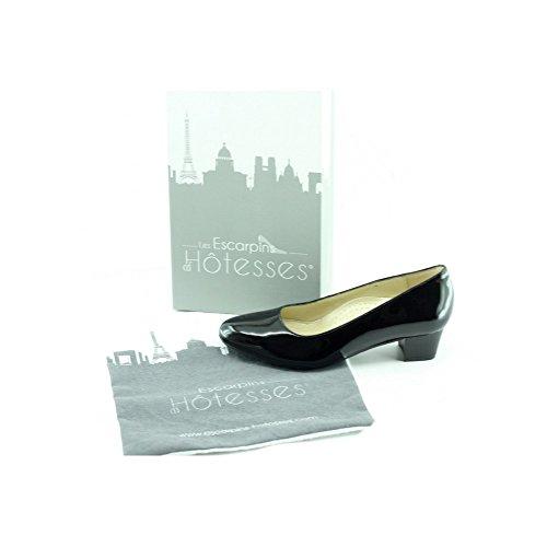 Escarpins d'Hotesses Escarpin Hotesses Vernis Noir Escale V-Noir