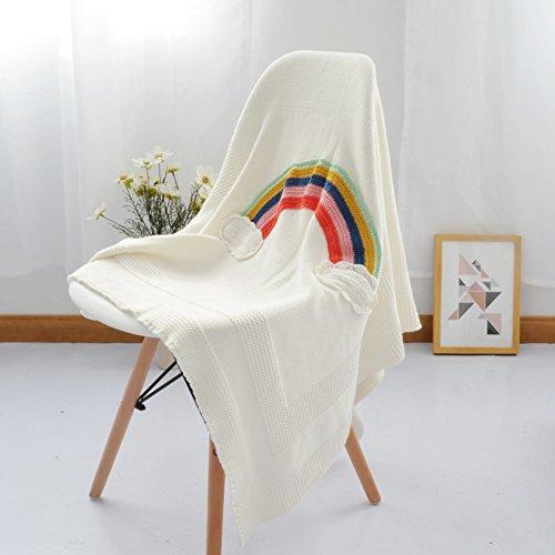 AINIF Alle Regenbogen Aus Baumwolle Wolle Decke, Büro Schlafen Decke, Couch, Decke, 110Cmx130Cm,Regenbogen - Decke (Decke Muster Stricken Einfach Baby)
