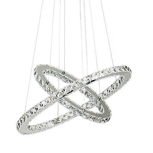 LOCO 40 cm (16 inch)Colgante LED de cristal moderna de lujo con únicos dos anillos, luz casera moderna del accesorio del techo, pendiente de la luz de iluminación Lámparas