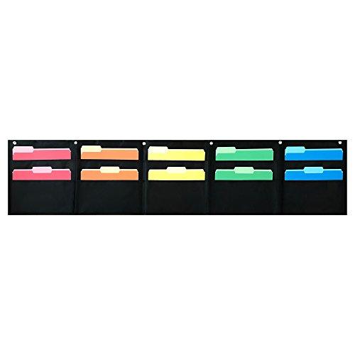 10 Pocket Wand (10Pocket Horizontal Storage Pocket Chart, Zum Aufhängen Datei Organizer von Essex Waren-Organisieren Ihre zuweisen, Dateien, Scrapbook Papiere & mehr (schwarz))