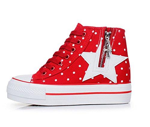 Sommer Dicke Plattform Damen Sterne Schnürsenkel Bequeme Einfache Canvas Espadrilles Sportschuhe Rot