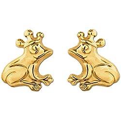 CLEVER SCHMUCK Clever - Pendientes, diseño con forma de rana con corona, oro 333, brillante