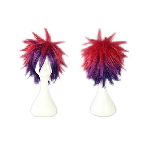 Life Sora Rose Red Mixed Purple Short Spiky Cosplay Wigs Halloween Christmas Party Hair (Halloween-sora Cosplay)