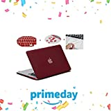 "Go Crazzy Soft Rubberized Hard Shell Cover For MacBook Pro 13"" inch With Touch Bar & ID, Touch Bar Protector, Dust Plugs, Keyboard Guard (Wine Red)"