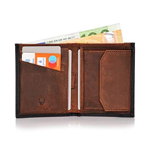 Donbolso Leder Geldbörse Rom - Geldbeutel klein mit RFID Schutz - Mini Portemonnaie für Herren und Damen - Slim Wallet mit Münzfach
