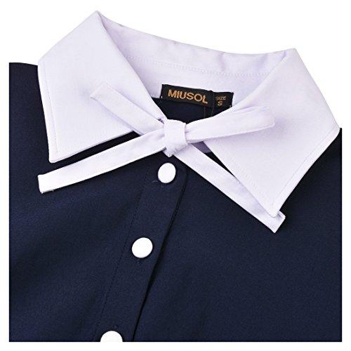 Miusol Damen Schulmaedchen Revers mit Schleife Marine Stil Rockabilly Cocktailkleid Business 80er Jahr Kleid Blau Gr.M -