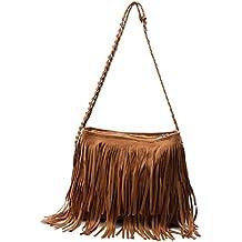 Especiales de Navidad! Faux Suede Leather Tassel estilo retro hippie mujeres Satchel
