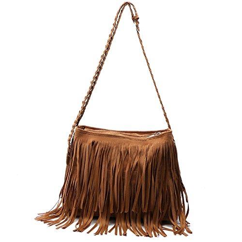 Mode Quaste Handtaschen,Hippie-Stil Wildleder Hobo Cross Body Strap Umhängetasche Frauen Satchel. - Wildleder Hobo Handtasche