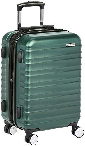 AmazonBasics - Trolley rigido Premium con rotelle pivotanti e lucchetto TSA integrato, bagaglio a mano 55cm, Verde