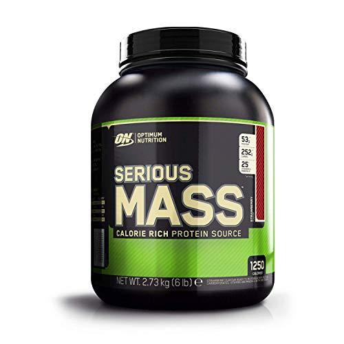 Optimum Nutrition ON Serious Mass Hochkalorisches Weight Gainer Protein Pulver mit Kohlenhydrate, Whey Protein, Vitaminen, Kreatin und Glutamin, Strawberry, 8 Portionen, 2.73kg