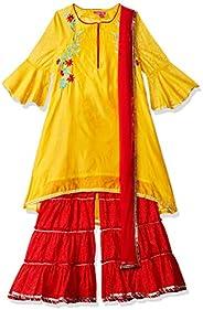 BIBA Girls Girls' Asymmetrical Hemline Regular Fit Salwar Suit