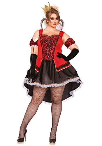 (Karneval-Klamotten Herz-Königin Kostüm Damen Luxus Herzkönigin Kleid Spielkarte-n-Kostüm Karneval Damen-Kostüm Plus Size Größe 52/56)