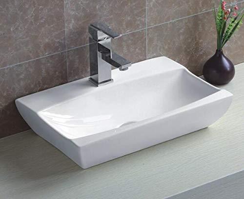 warenplus2014 Keramikwaschbecken klein eckig weiß Aufsatz Waschbecken Keramik 48,5 x 32 x 10,5 cm