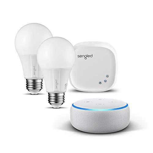 Echo Dot (3. Gen.) Intelligenter Lautsprecher mit Alexa, Sandstein Stoff + Sengled-Starter Set E27