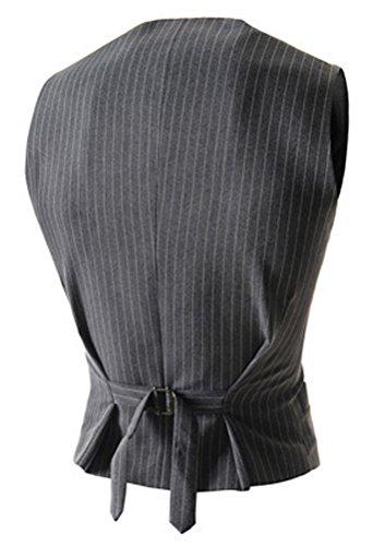 Brinny Herren Geschäft Slim Fit 4 Tasten-Kleid-Weste-Weste Gilet Grau