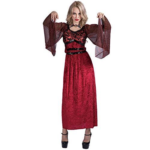 Angmile Halloween Cosplay Kostüm Mode Dame Kleid Sexy Glamorous Vampir Fledermaus Ärmel Rotes Kleid