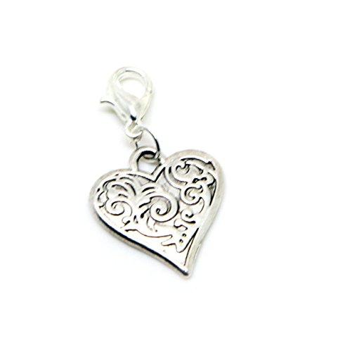 Filigree Heart Gift Dangle Bead for Silver European Charm Bracelets